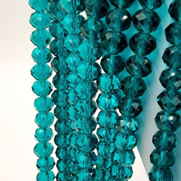 72 pcs x 8mm Glass Faceted Rondelle bead Teal 023